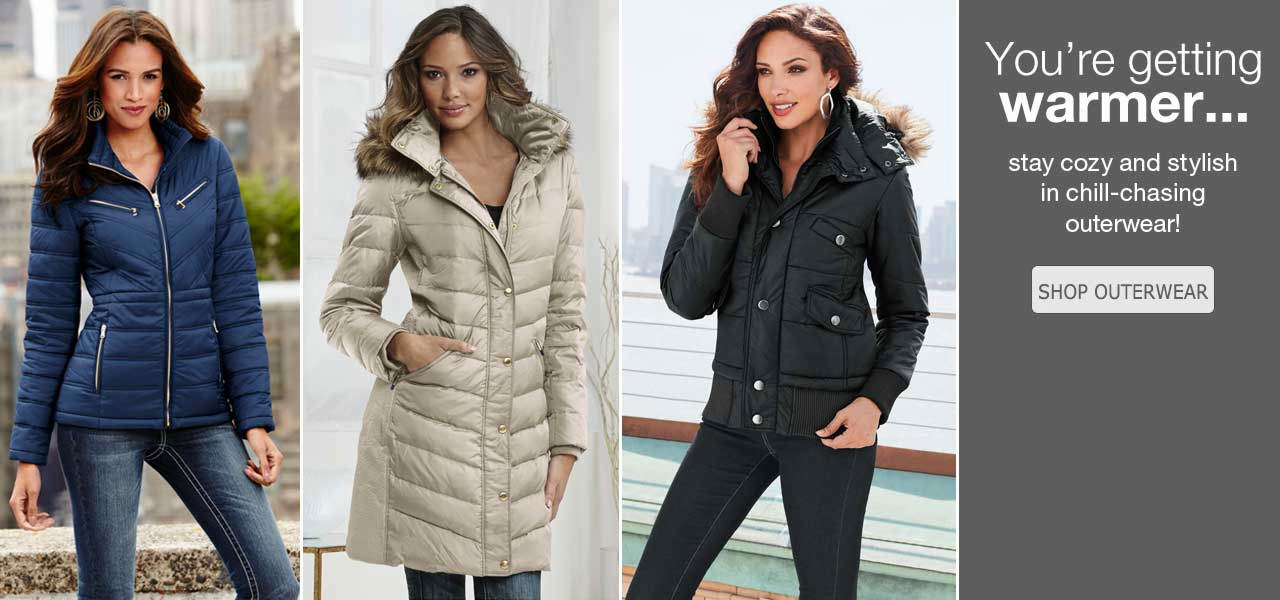 You're getting warmer! Stay cozy and stylish in chill-chasing outerwear! Shop now.
