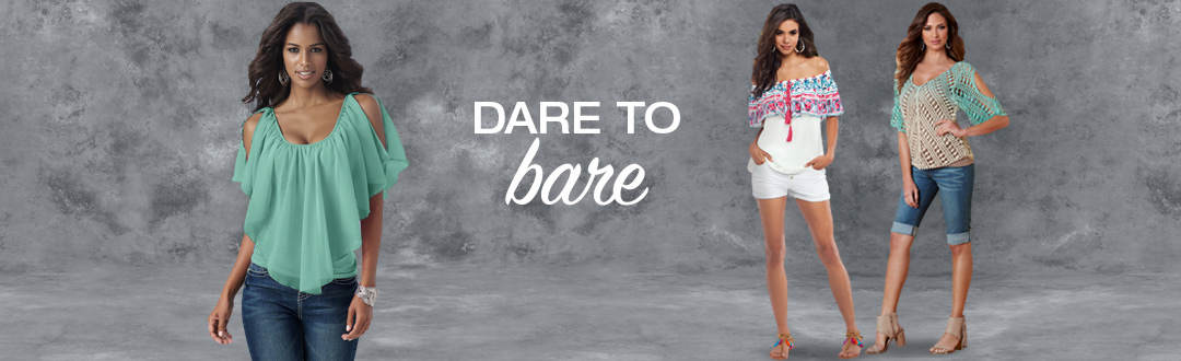 Dare to Bare in off the shoulder styles.