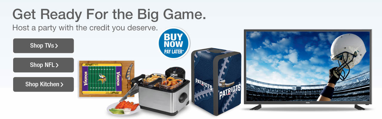 Get ready for the big game. Shop TVs, NFL fan gear and kitchen items for party hosting.