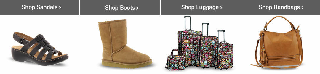 Shop Top Clothing, Shoes + Bags Categories - Sandals, Boots, Luggage and Handbags!