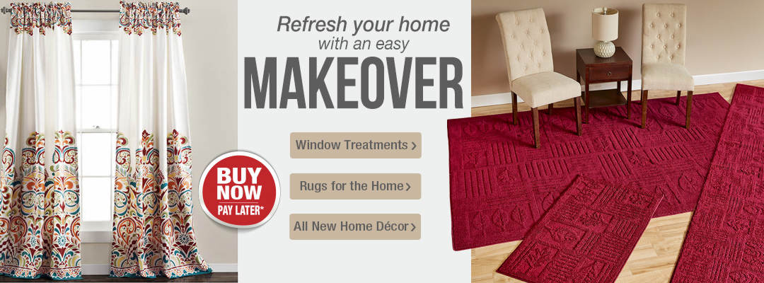 Refresh your home with an easy makeover featuring window treatments, rugs and more.
