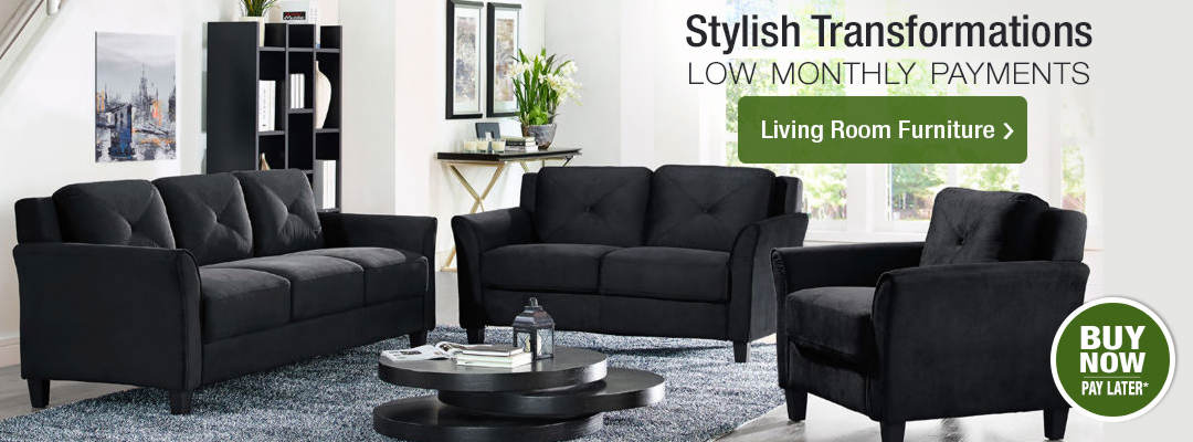 Stylish living room transformations for low monthly payments. Shop Living Room Furniture now.