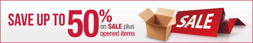 Savings of up to 50% on Sale items, plus opened items added weekly