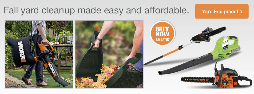 Shop yard equipment now for easy and affordable fall yard cleanup.