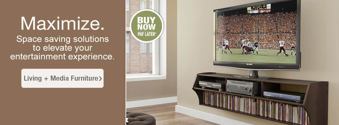 Maximize with space saving solutions to elevate your entertainemnt experience. Shop Living + Media Room Furniture.