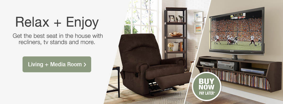 Relax and enjoy. Get the best seat in the house with recliners, tv stands and more. Shop Living and Media Room Furniture now.