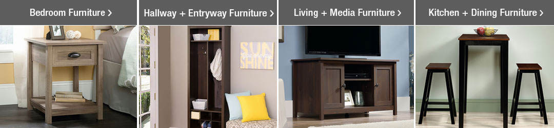 Shop Top Furniture Categories - Bedroom Furniture, Hall + Entryway Furniture, Living + Media Furniture and Kitchen + Dining Styles!