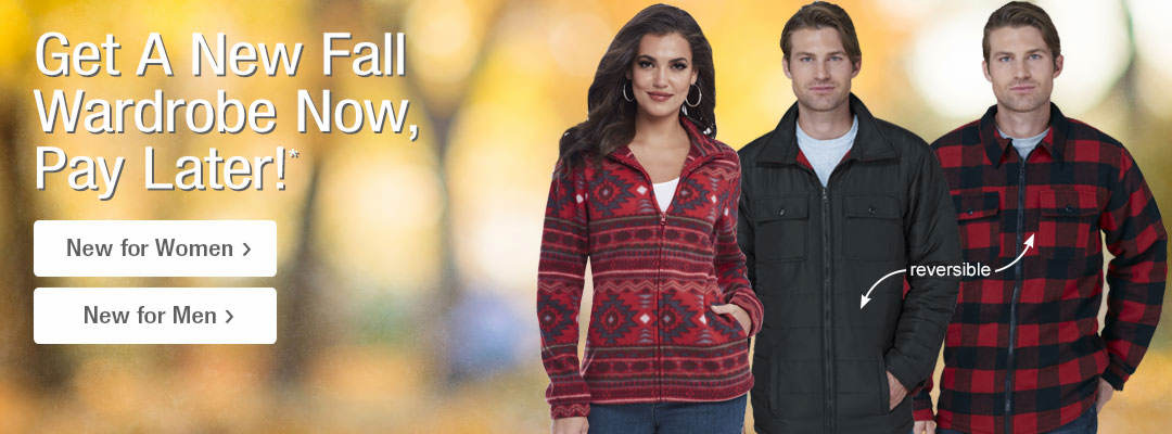 Get a new fall wardrobe now, pay later. Shop New Clothing for Men and Women.