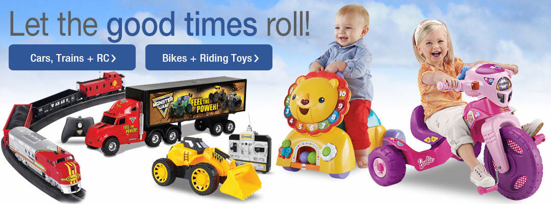 Let the good times roll with bikes + riding toys, plus cars, trains and RC toys