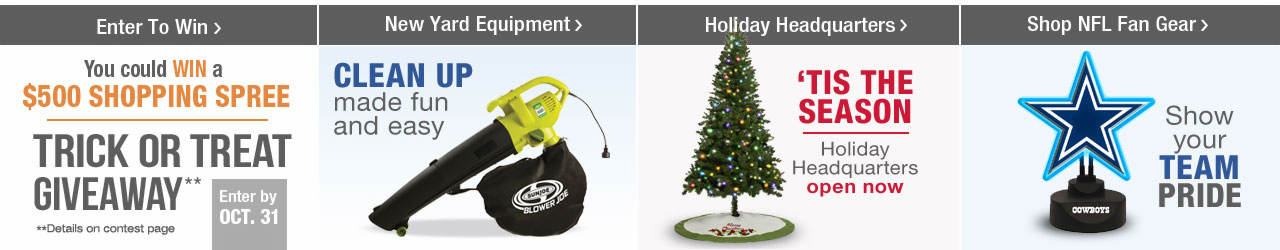Enter to win a $500 Shopping Spree on Stoneberry.com! Clean up with new yard equipment. Visit the Holiday Headquarters to find perfect gifts for everyone on your list and don't forget to show your team spirit with items from the NFL fan shop.