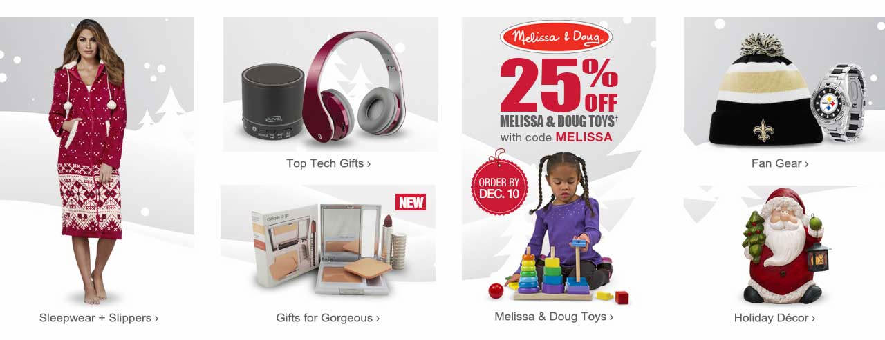 Save 25% on Melissa and Doug toys with code MELISSA through December 10. Shop holiday decor, sleepwear and slippers, top tech gifts, beauty gifts, NFL fan gear and more.