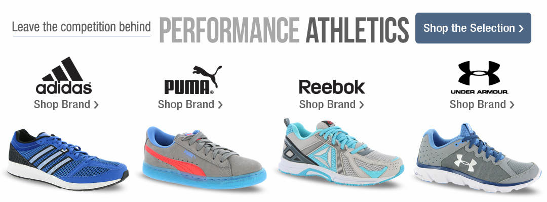 Leave the competition behind with performance athletics. Shop adidas, Puma, Reebok and Under Armour, as well as our entire selection.