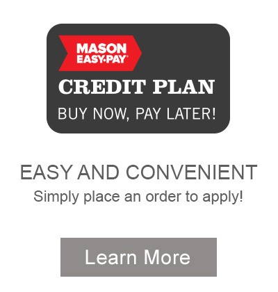 Easy and Convenient Credit Plan. Simply place an order to apply. Learn more now.