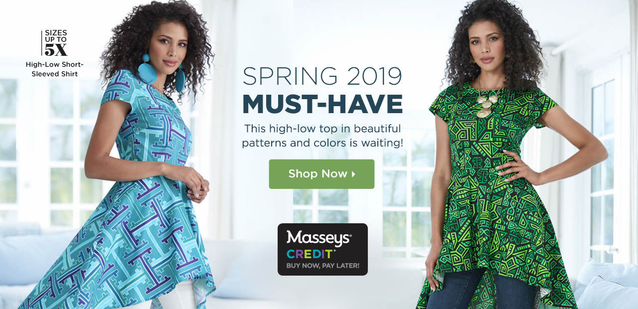 Spring 2019 Must-Have - This high-low top in beautiful patterns and colors is waiting! Shop Now