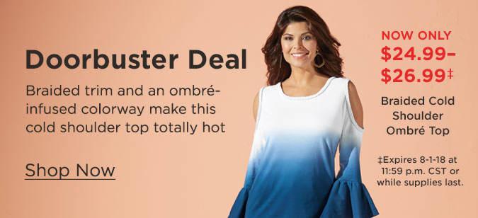 Shop Braided Cold Shoulder Ombré Top