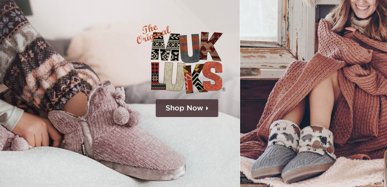 A winter weather staple - MUK LUKS will keep you cozy and warm all season long! Shop MUK LUKS Slippers and Socks