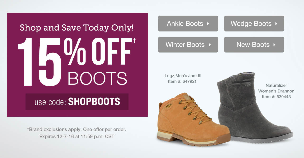 15% Off Boots With Code: SHOPBOOTS Until 12/7/16 at 11:59 p.m. CST.