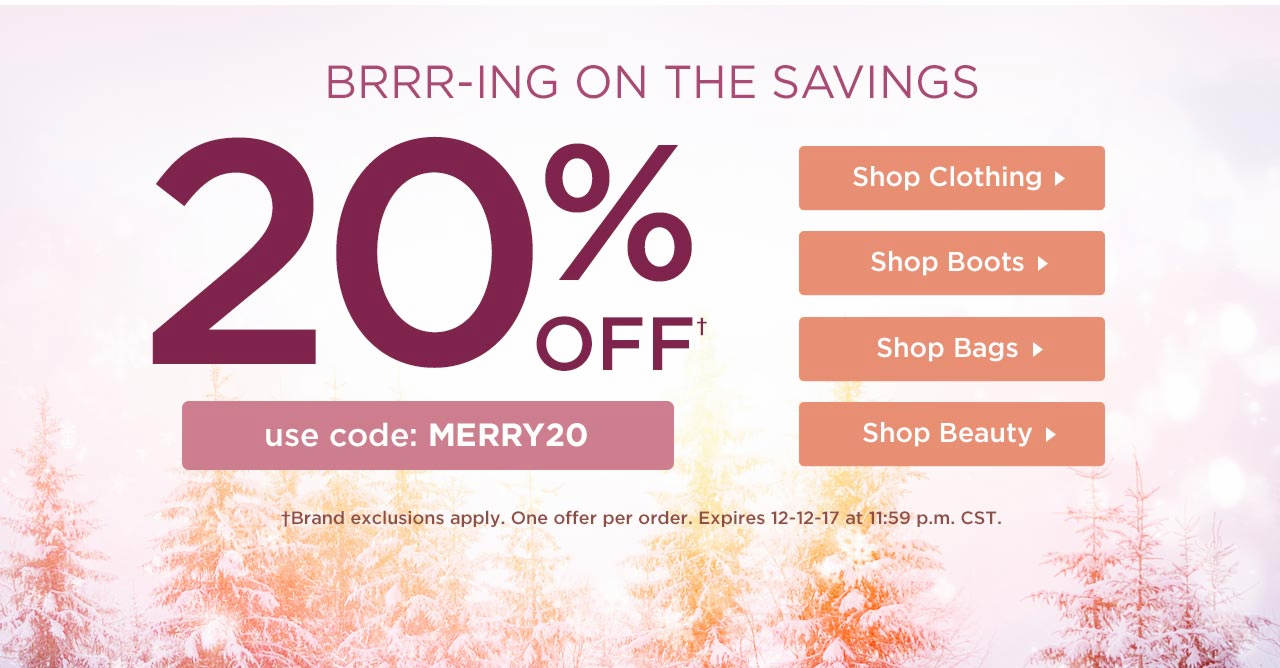 20% Off Your Order With Code: MERRY20 Until 11:59 p.m. CST on 12-12-17.
