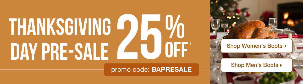 Thanksgiving Day Pre-Sale - 25% Off With Promo Code: BAPRESALE