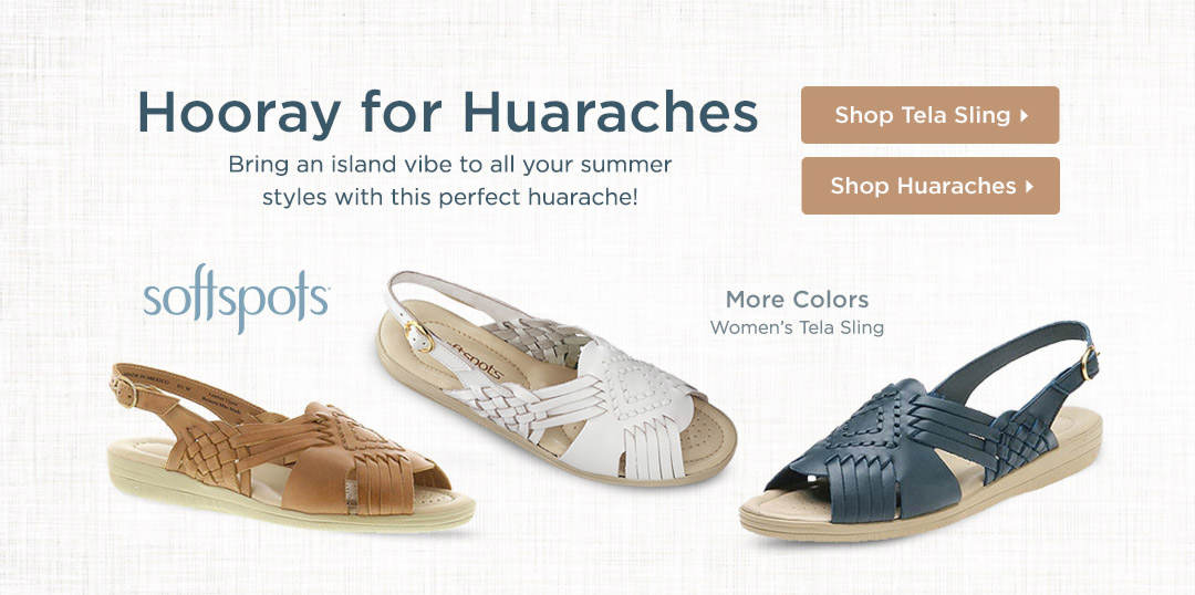Bring an island vibe to all your summer styles with this perfect huarache from Softspots! Shop Now