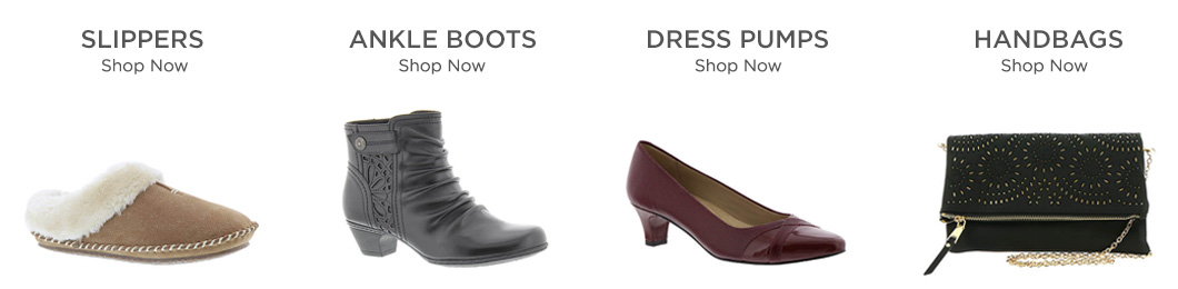 Shop Slippers, Ankle Boots, Dress Pumps and Handbags