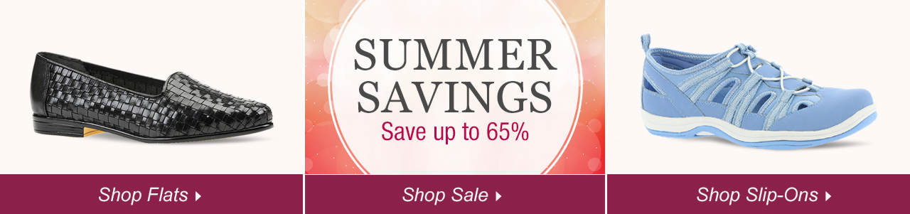 Shop flats, slip-ons and explore savings of up to 65% on our sale tab!