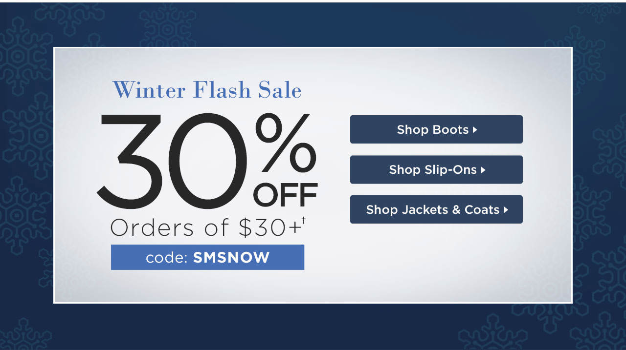30% Off $30+ With Code: SMSNOW