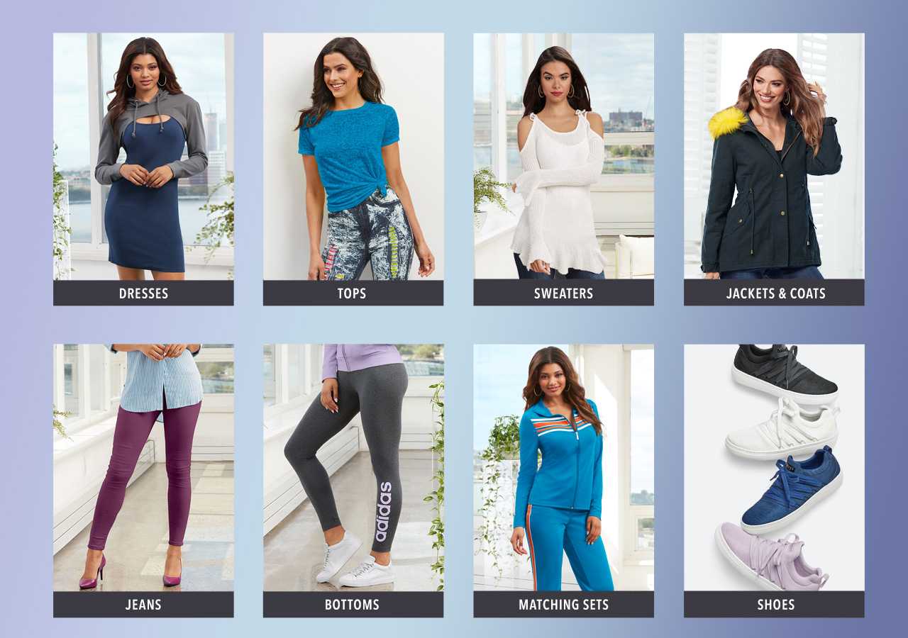 Shop dresses, tops, sweaters, jackets and coats, jeans, bottoms, matching sets and shoes today, pay later with K. Jordan Credit.
