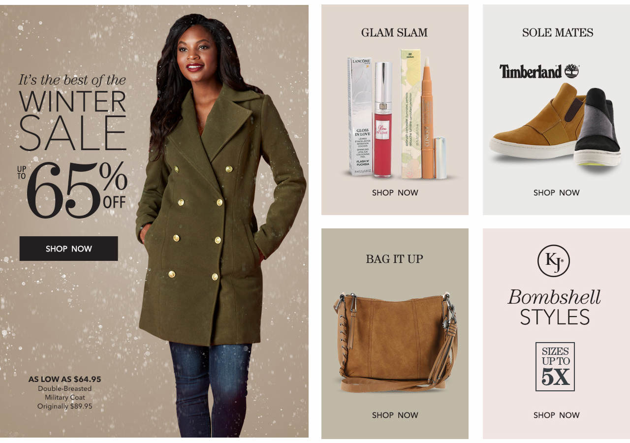 Shop the winter sale and save up to 65%. Shop Beauty, boots, bags and bombshell styles in sizes up to 5X.