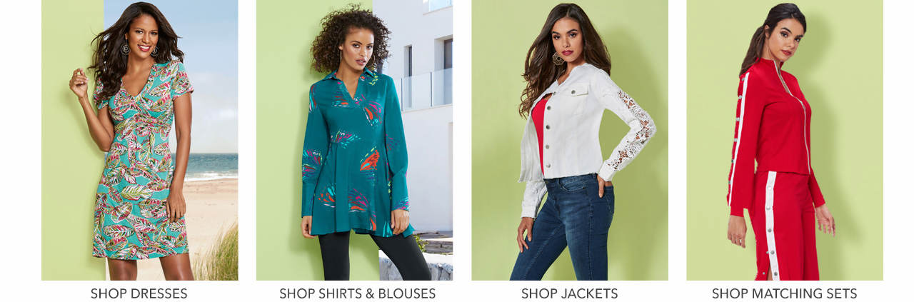 Shop shirts & blouses, jeans, jackets & coats and leggings.