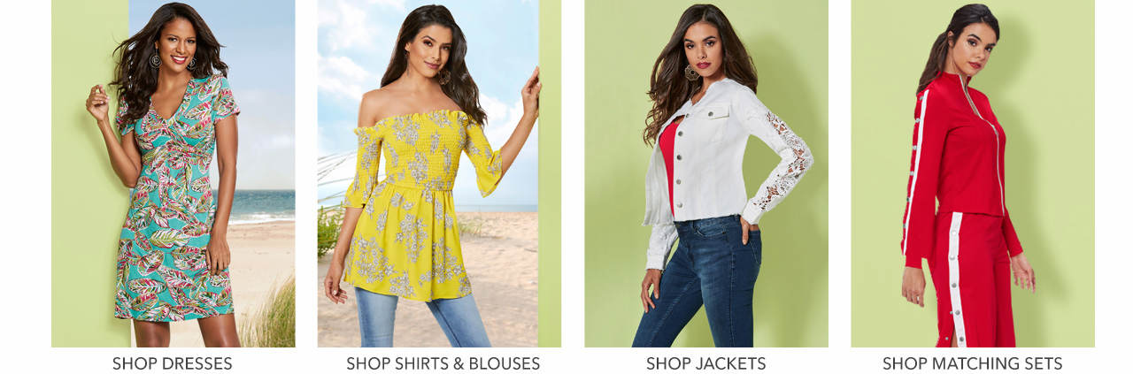Shop shirts & blouses, dresses, jackets and matching sets.