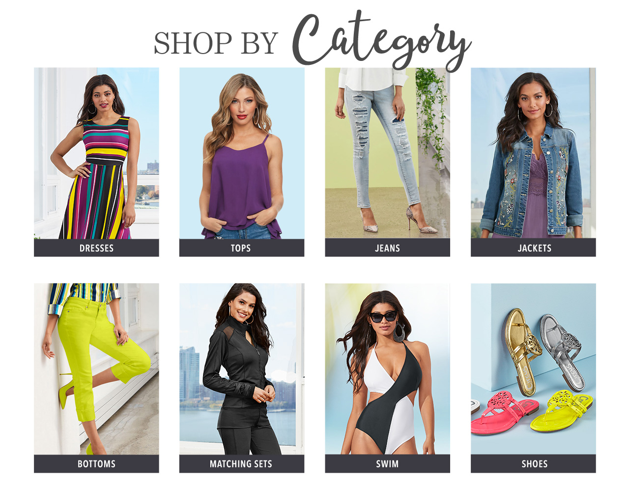 Shop dresses, tops, jeans, jackets,  bottoms, matching sets, swimwear, and shoes today, pay later with K. Jordan Credit.