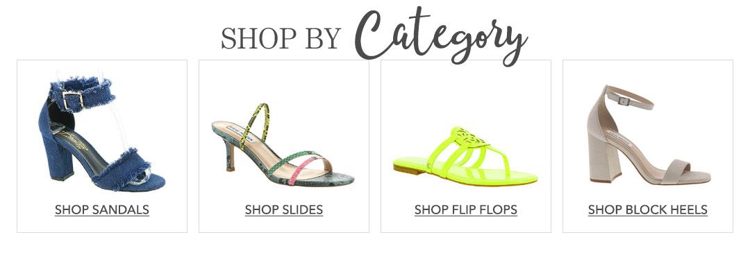 Shop sandals, Slides, flip flops, and block heels.