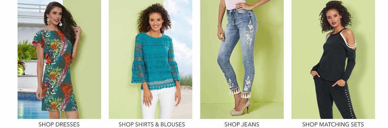 Shop shirts & blouses, dresses, jeans and matching sets.