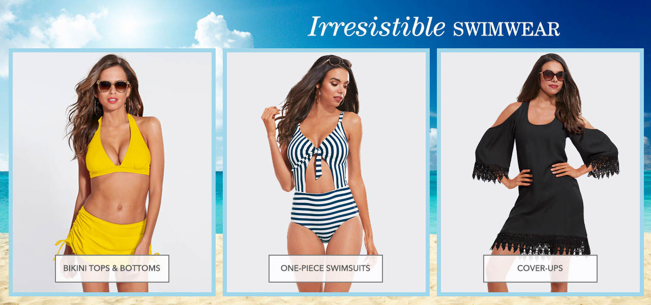 Shop irresistible swimwear including bikini tops and bottoms, one-piece swinsuits and cover-ups.