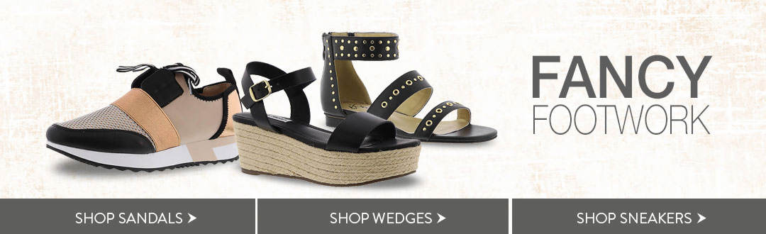 Fancy footwork is yours with sandals, wedges and sneakers from K. Jordan.