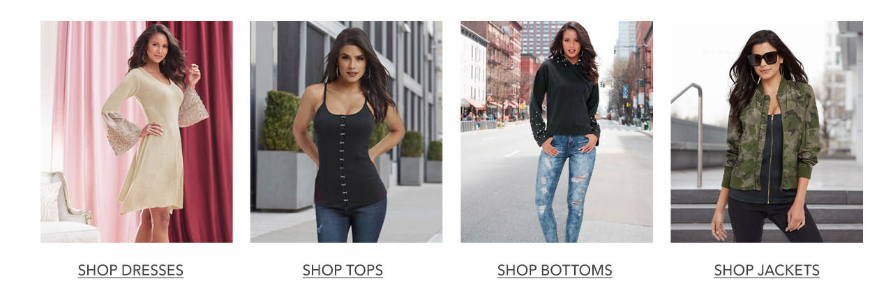 Shop dresses, tops, bottoms and jackets.