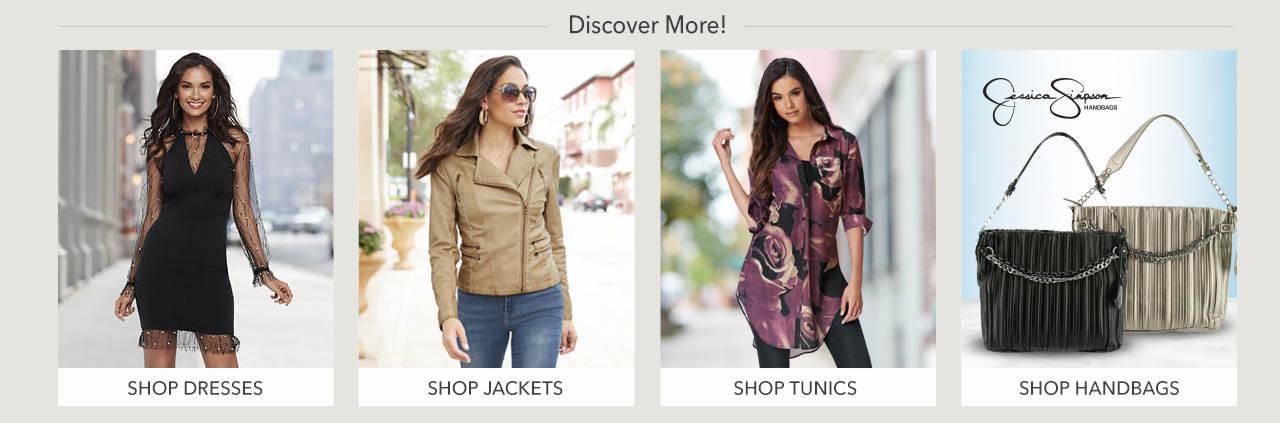 Shop dresses, jackets, tunics and handbags.