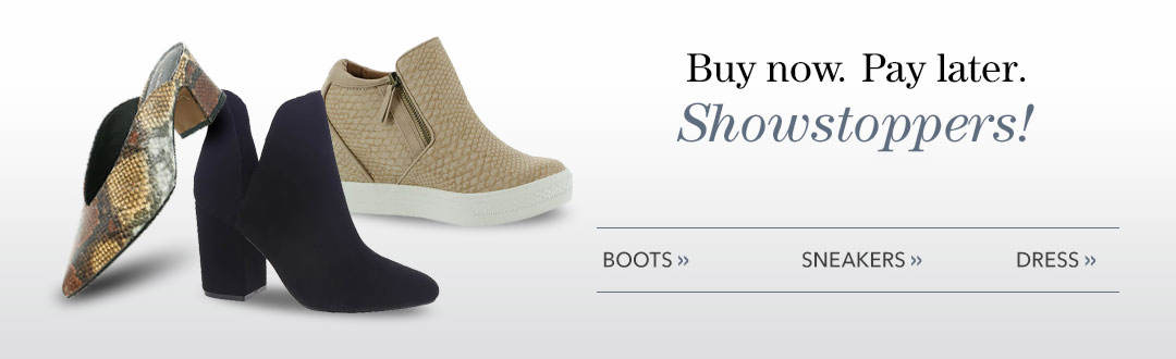 Buy now, pay later. Showstopping shoes! Shop boots, sneakers and dress.