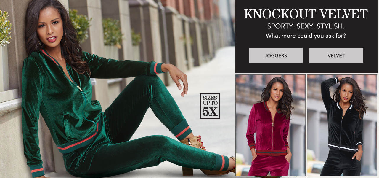 Knockout Velvet. Sporty. sexy. stylish. What more could you ask for? Shop Joggers and all velvet styles today.