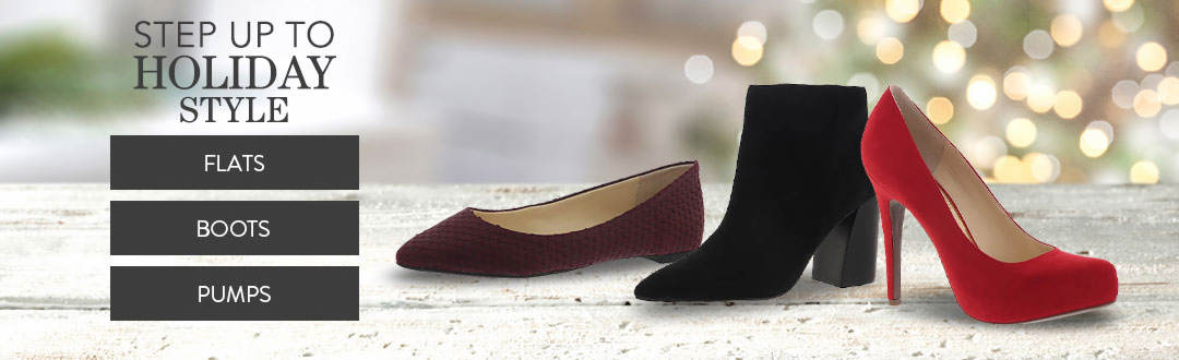 Step up to holiday style in flats, boots and pumps from K. Jordan.