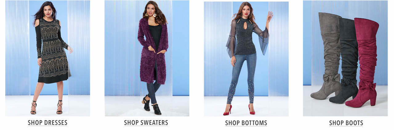 Shop dresses, sweaters, bottoms and boots.