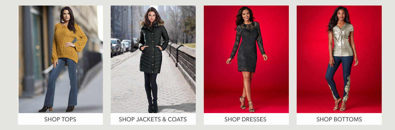 Shop Tops, jackets and coats, dresses and bottoms.