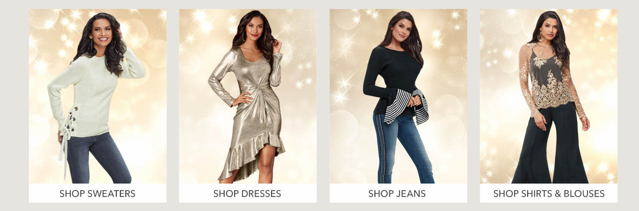 Shop Sweaters, dresses, jeans and shirts & blouses.