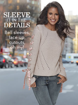 Sleeve it in the details. Bell sleeves, lace-ups, cutouts, oh my! Shop Sleeve Detail.