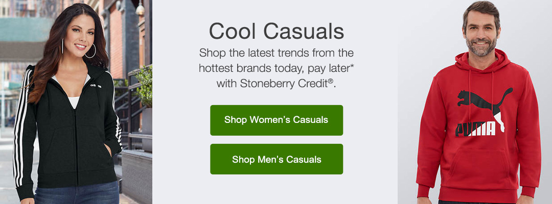Shop the latest trends in casual living for women and men from the hotest brands today, pay later with Steonberry Credit.