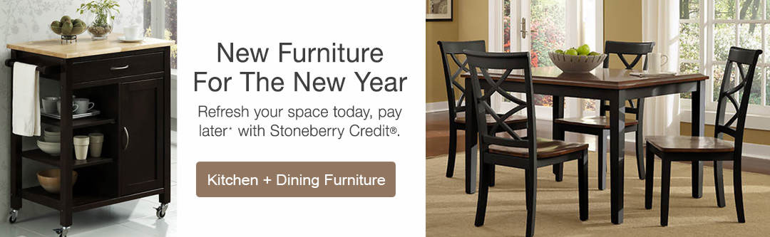 New furniture for the new year with low monthly payments. Shop kitchen and dining furniture now.