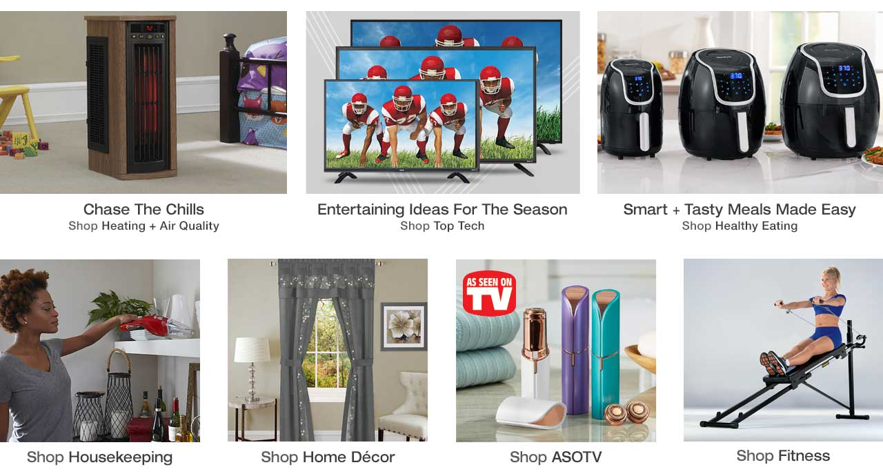 Shop heating + air quality, top tech, healthy eating, housekeeping essentials, home decor, As Seen on TV and fitness products today, pay later with Stoneberry Credit.