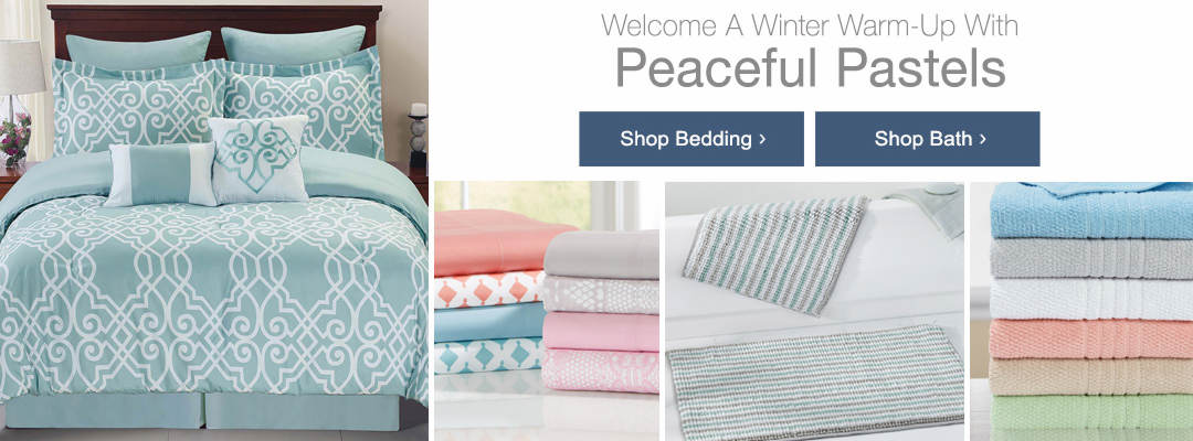 Welcome a winter warm-up with peaceful pastels. Shop bedding and bath today.
