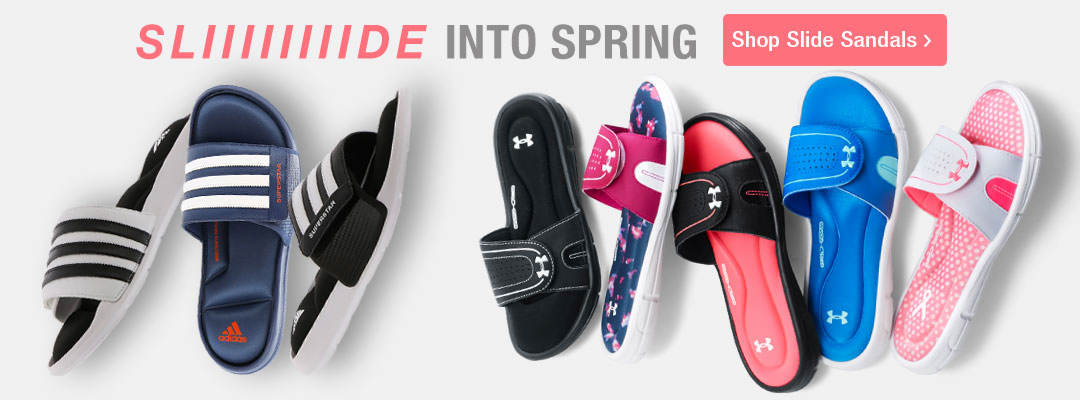 Slide into spring with slide sandals for the entire family.